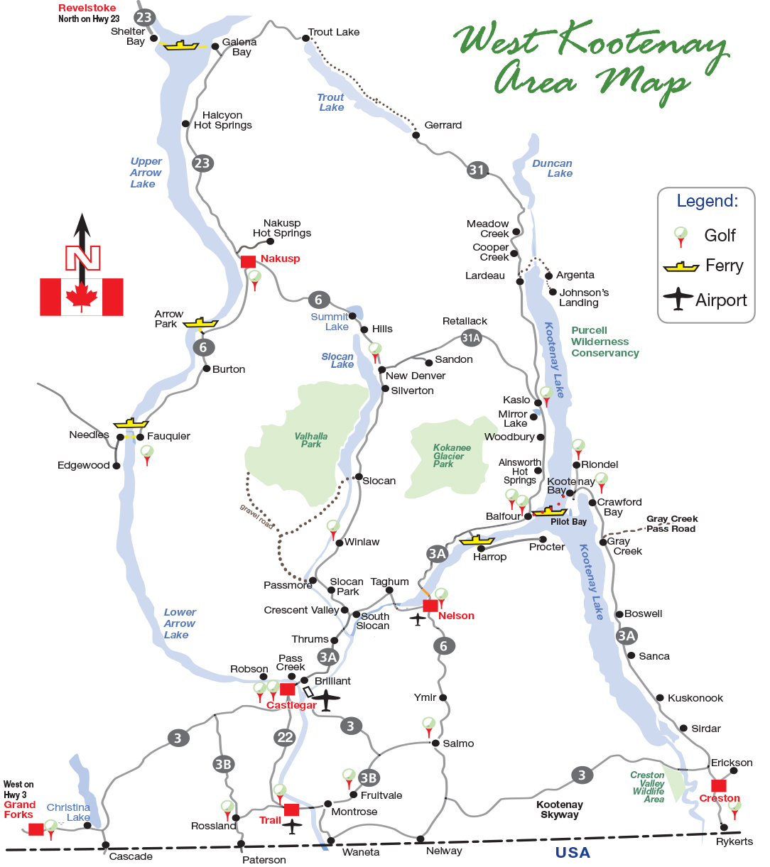 Map Of Kootenays Map & Ferry Schedules | West Kootenay Go and Do